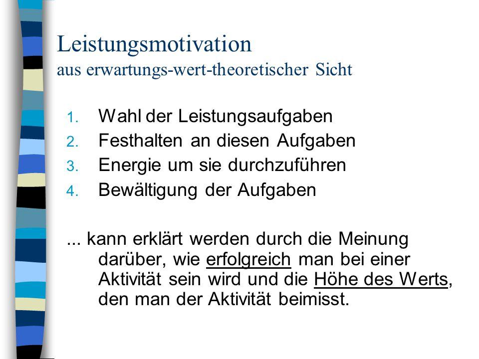 Leistungsmotivation aus erwartungs-wert-theoretischer Sicht 1. Wahl der Leistungsaufgaben 2. Festhalten an diesen Aufgaben 3. Energie um sie durchzufü