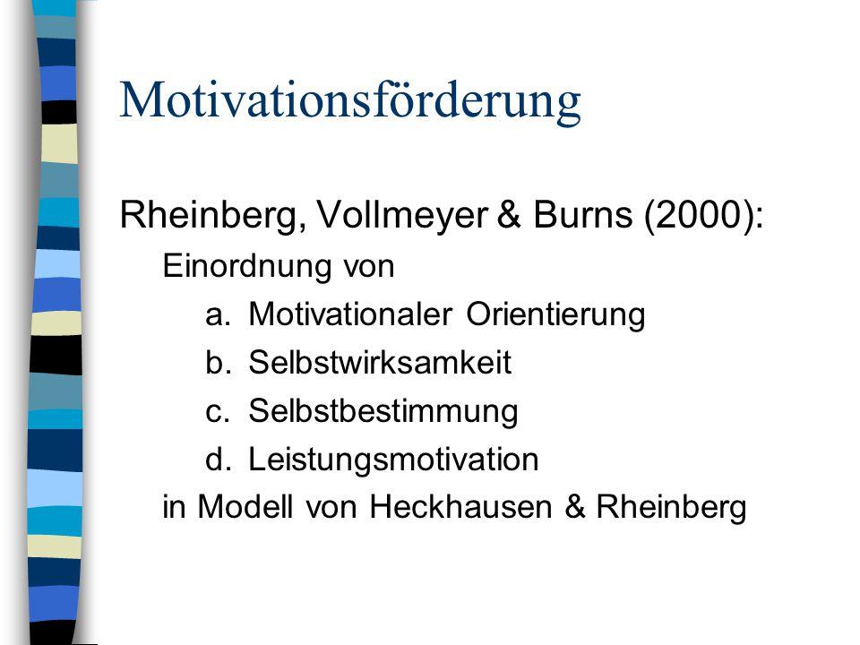 Motivationsförderung Rheinberg, Vollmeyer & Burns (2000): Einordnung von a.Motivationaler Orientierung b.Selbstwirksamkeit c.Selbstbestimmung d.Leistungsmotivation in Modell von Heckhausen & Rheinberg