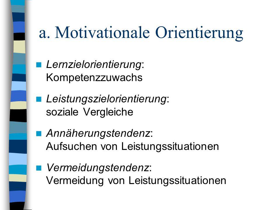 a. Motivationale Orientierung Lernzielorientierung: Kompetenzzuwachs Leistungszielorientierung: soziale Vergleiche Annäherungstendenz: Aufsuchen von L