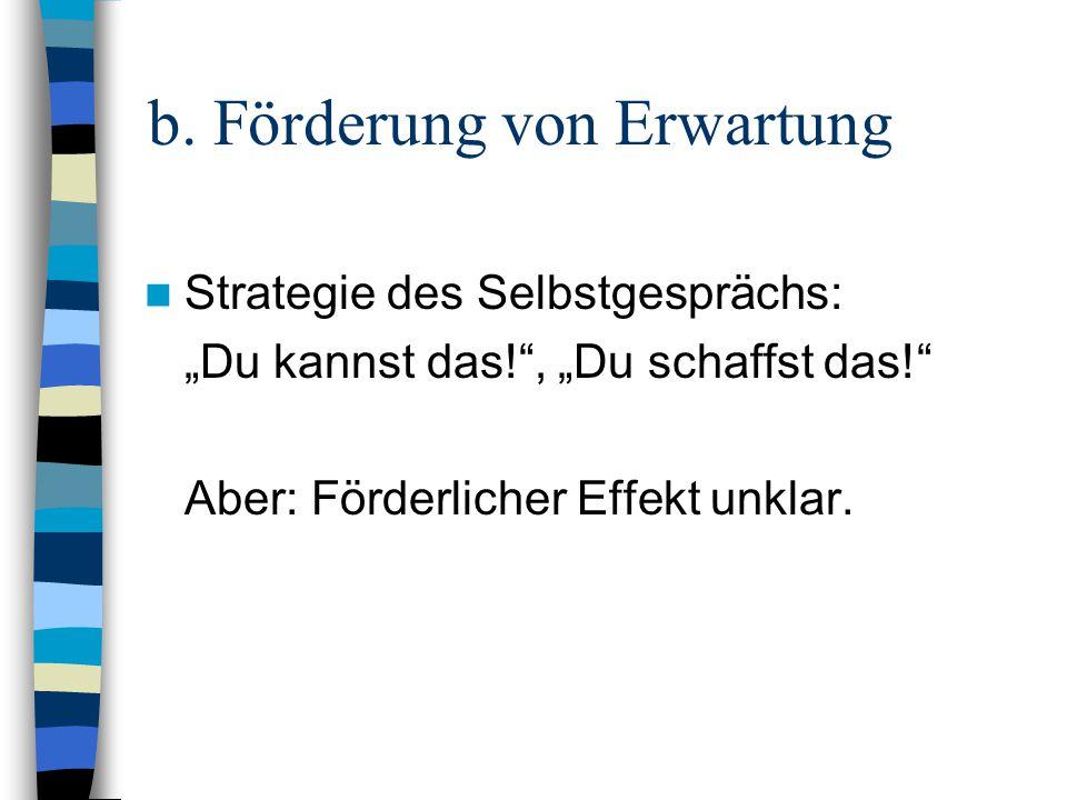 b. Förderung von Erwartung Strategie des Selbstgesprächs: Du kannst das!, Du schaffst das! Aber: Förderlicher Effekt unklar.
