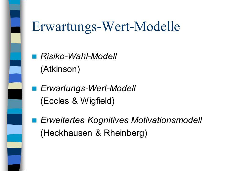 Erwartungs-Wert-Modelle Risiko-Wahl-Modell (Atkinson) Erwartungs-Wert-Modell (Eccles & Wigfield) Erweitertes Kognitives Motivationsmodell (Heckhausen
