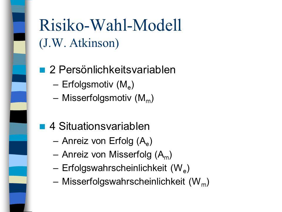 Risiko-Wahl-Modell (J.W. Atkinson) 2 Persönlichkeitsvariablen –Erfolgsmotiv (M e ) –Misserfolgsmotiv (M m ) 4 Situationsvariablen –Anreiz von Erfolg (
