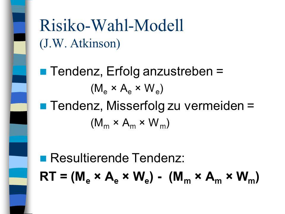 Tendenz, Erfolg anzustreben = (M e × A e × W e ) Tendenz, Misserfolg zu vermeiden = (M m × A m × W m ) Resultierende Tendenz: RT = (M e × A e × W e )