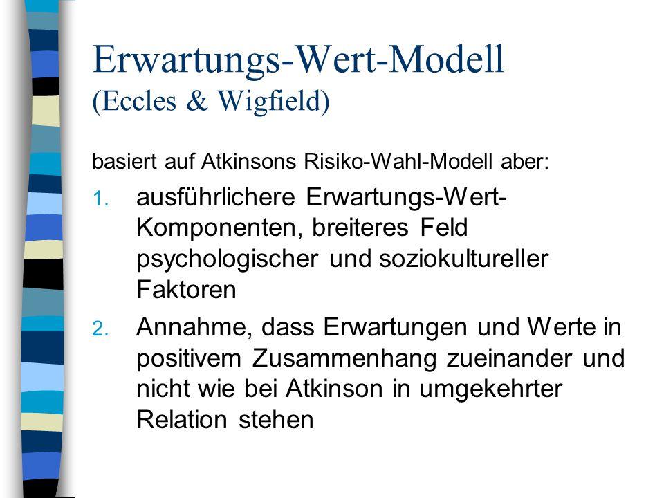 Erwartungs-Wert-Modell (Eccles & Wigfield) basiert auf Atkinsons Risiko-Wahl-Modell aber: 1. ausführlichere Erwartungs-Wert- Komponenten, breiteres Fe