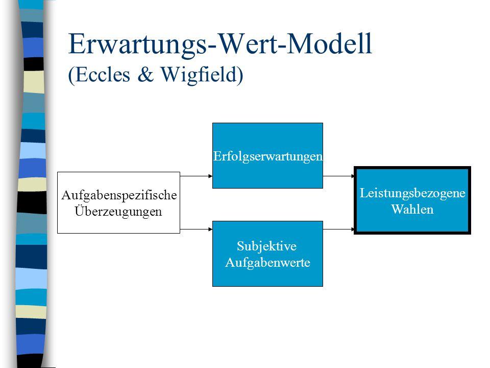 Erwartungs-Wert-Modell (Eccles & Wigfield) Erfolgserwartungen Subjektive Aufgabenwerte Leistungsbezogene Wahlen Aufgabenspezifische Überzeugungen