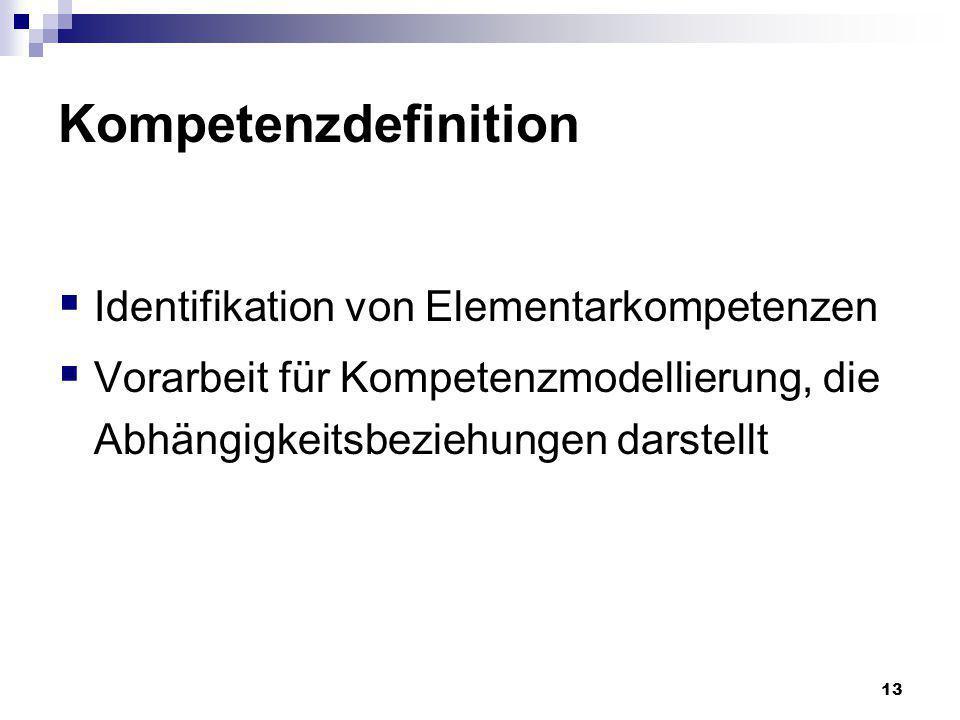 13 Kompetenzdefinition Identifikation von Elementarkompetenzen Vorarbeit für Kompetenzmodellierung, die Abhängigkeitsbeziehungen darstellt