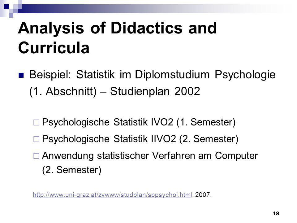 18 Analysis of Didactics and Curricula Beispiel: Statistik im Diplomstudium Psychologie (1.