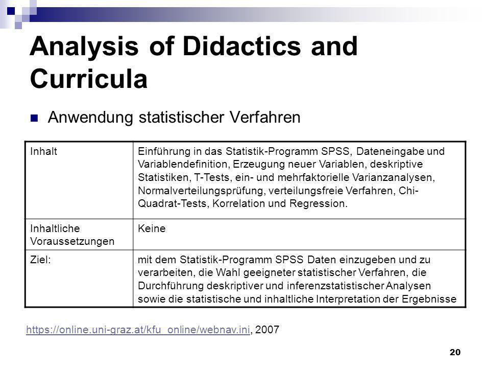 20 Analysis of Didactics and Curricula Anwendung statistischer Verfahren InhaltEinführung in das Statistik-Programm SPSS, Dateneingabe und Variablende