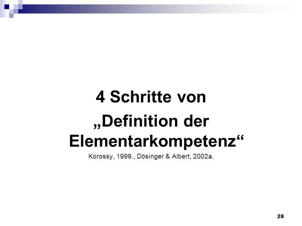 28 4 Schritte von Definition der Elementarkompetenz Korossy, 1999., Dösinger & Albert, 2002a.