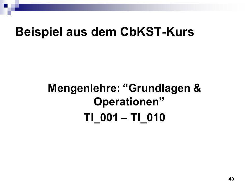 43 Beispiel aus dem CbKST-Kurs Mengenlehre: Grundlagen & Operationen TI_001 – TI_010