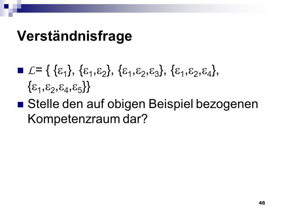 46 Verständnisfrage L = { { 1 }, { 1, 2 }, { 1, 2, 3 }, { 1, 2, 4 }, { 1, 2, 4, 5 }} Stelle den auf obigen Beispiel bezogenen Kompetenzraum dar?