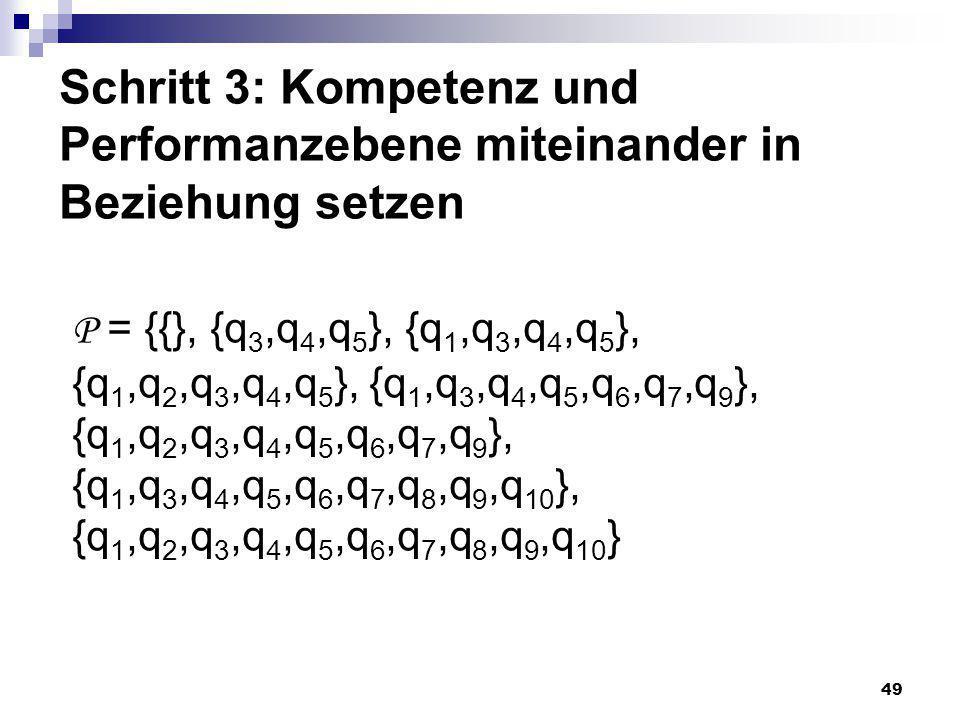 49 Schritt 3: Kompetenz und Performanzebene miteinander in Beziehung setzen P = {{}, {q 3,q 4,q 5 }, {q 1,q 3,q 4,q 5 }, {q 1,q 2,q 3,q 4,q 5 }, {q 1,