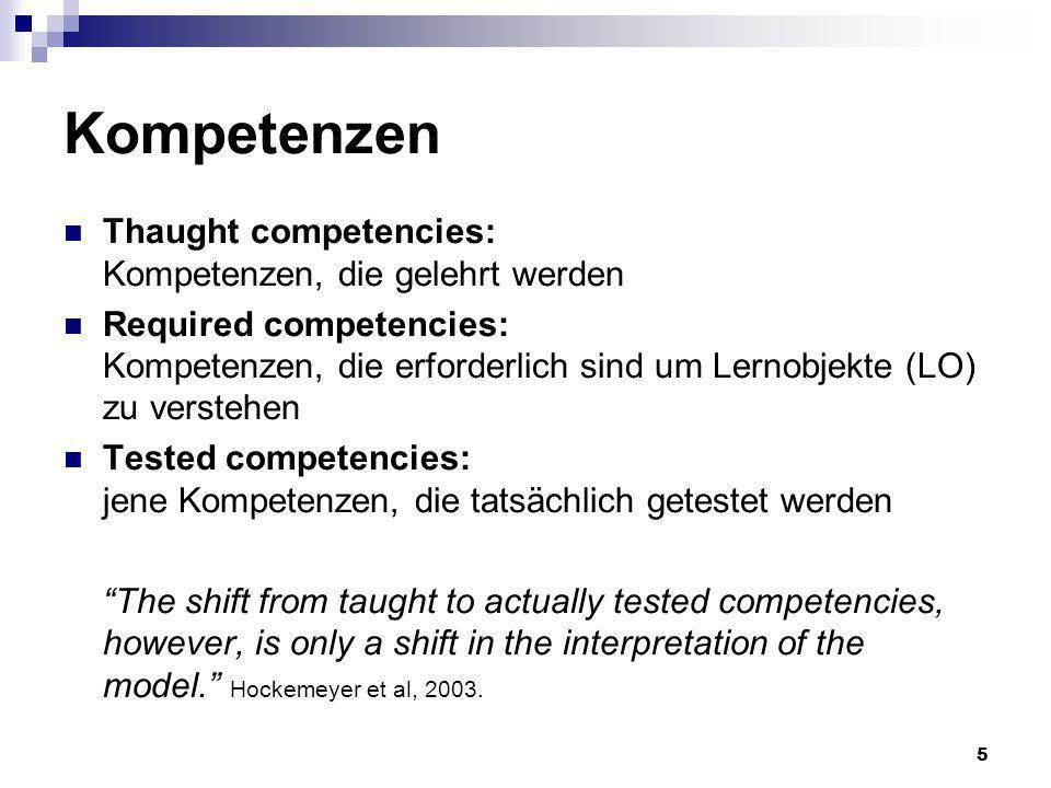 5 Kompetenzen Thaught competencies: Kompetenzen, die gelehrt werden Required competencies: Kompetenzen, die erforderlich sind um Lernobjekte (LO) zu v