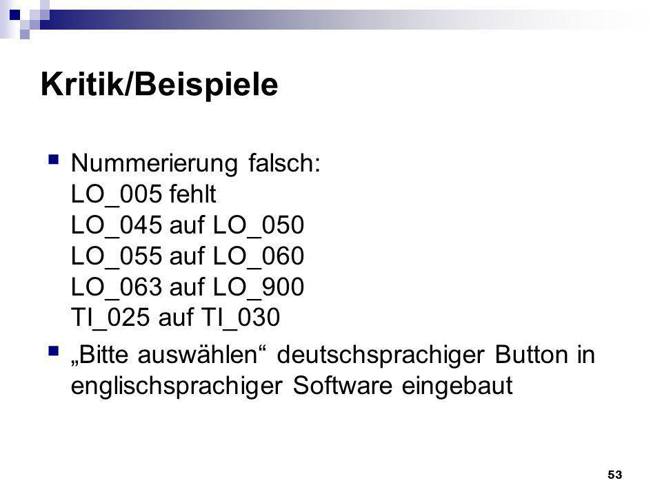 53 Kritik/Beispiele Nummerierung falsch: LO_005 fehlt LO_045 auf LO_050 LO_055 auf LO_060 LO_063 auf LO_900 TI_025 auf TI_030 Bitte auswählen deutschs