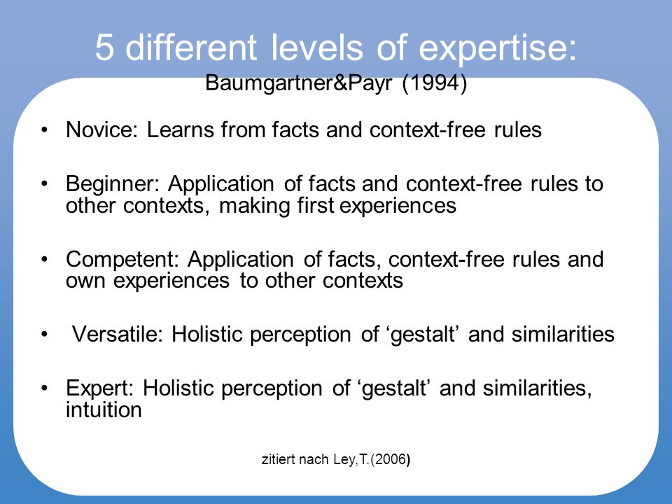 5 different levels of expertise: Baumgartner&Payr (1994) Novice: Learns from facts and context-free rules Beginner: Application of facts and context-free rules to other contexts, making first experiences Competent: Application of facts, context-free rules and own experiences to other contexts Versatile: Holistic perception of gestalt and similarities Expert: Holistic perception of gestalt and similarities, intuition zitiert nach Ley,T.(2006)