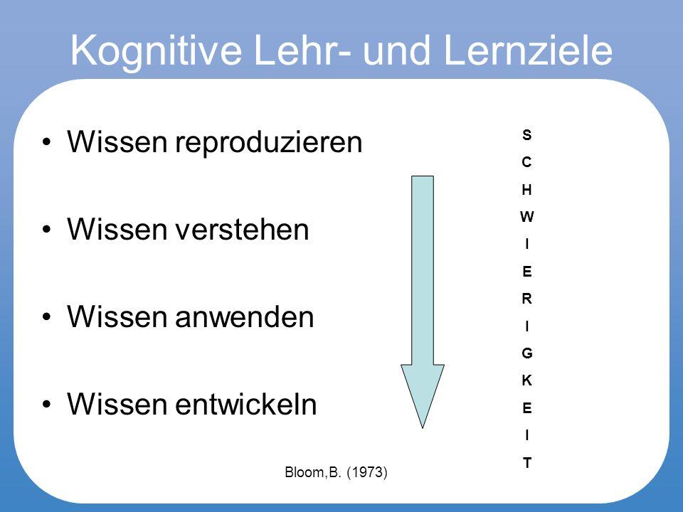 Lehrziele Aus den Lehr- und Lernzielen entstehen Aufgaben (und Auswertungskriterien).