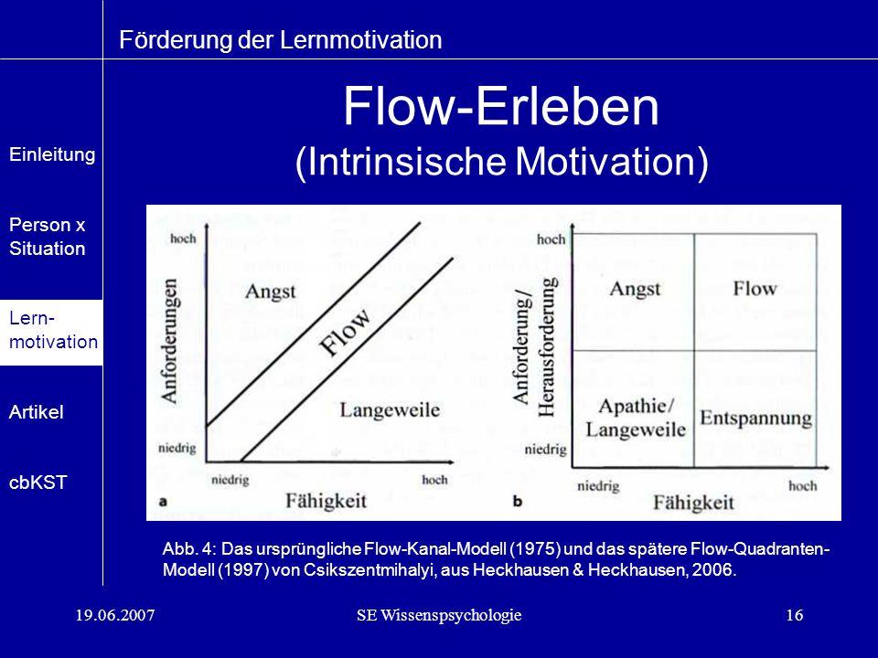 19.06.2007SE Wissenspsychologie16 Flow-Erleben (Intrinsische Motivation) Förderung der Lernmotivation Abb.