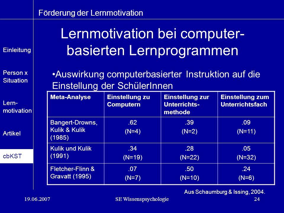 19.06.2007SE Wissenspsychologie24 Lernmotivation bei computer- basierten Lernprogrammen Förderung der Lernmotivation Aus Schaumburg & Issing, 2004.