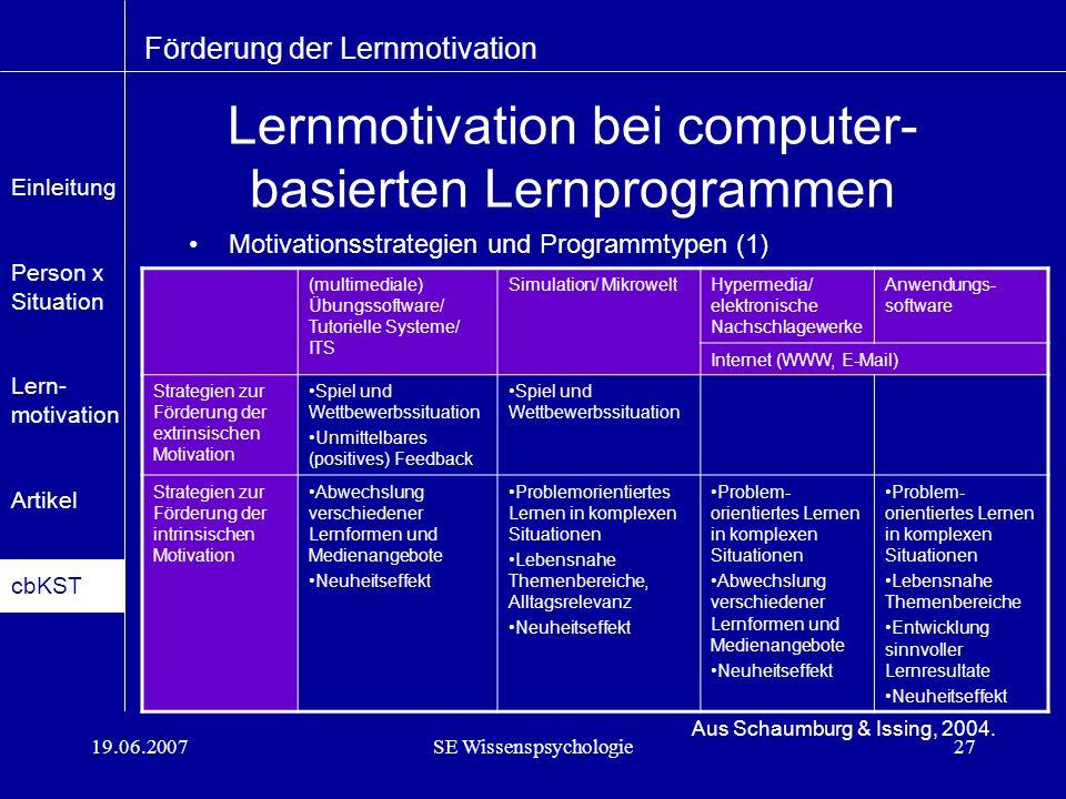 19.06.2007SE Wissenspsychologie27 Lernmotivation bei computer- basierten Lernprogrammen Motivationsstrategien und Programmtypen (1) Förderung der Lernmotivation Aus Schaumburg & Issing, 2004.