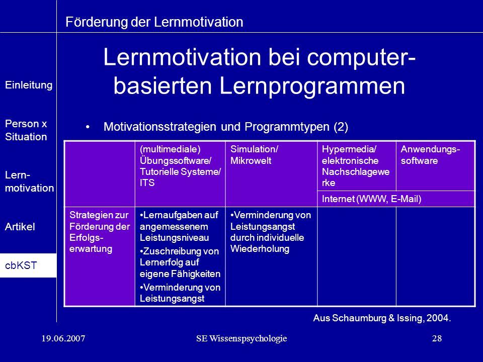 19.06.2007SE Wissenspsychologie28 Lernmotivation bei computer- basierten Lernprogrammen Motivationsstrategien und Programmtypen (2) Förderung der Lernmotivation Aus Schaumburg & Issing, 2004.