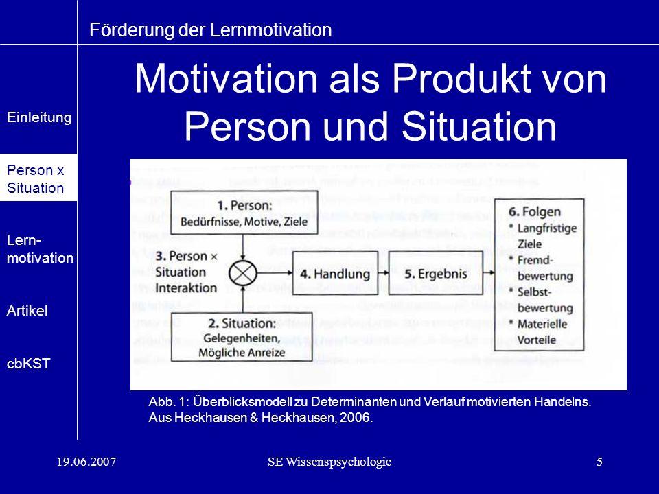 19.06.2007SE Wissenspsychologie5 Motivation als Produkt von Person und Situation Förderung der Lernmotivation Abb.