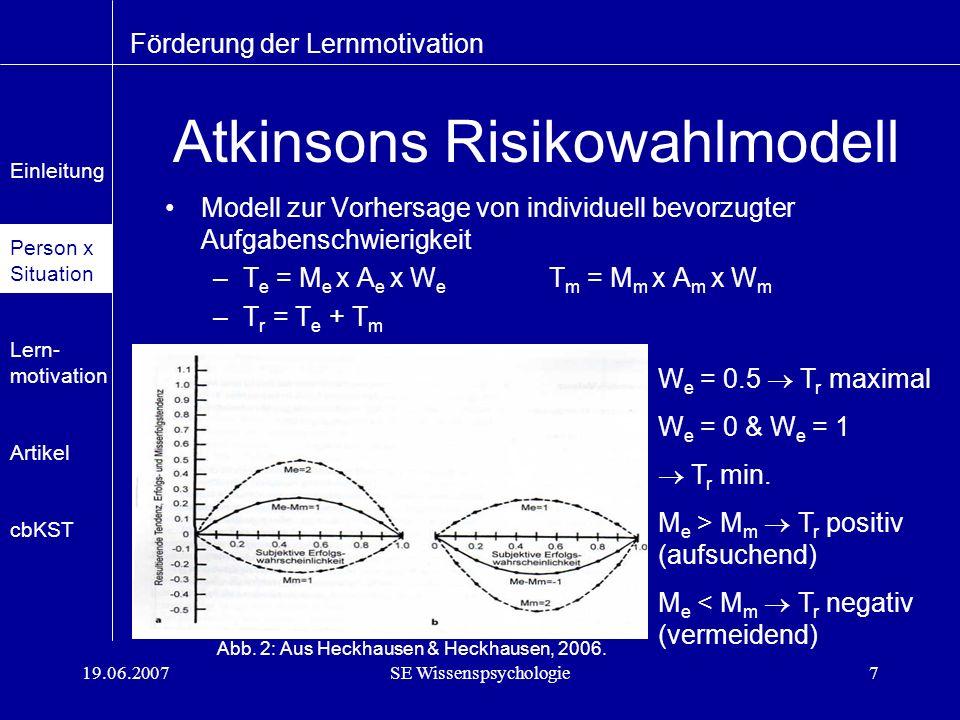 19.06.2007SE Wissenspsychologie7 W e = 0.5 T r maximal W e = 0 & W e = 1 T r min.