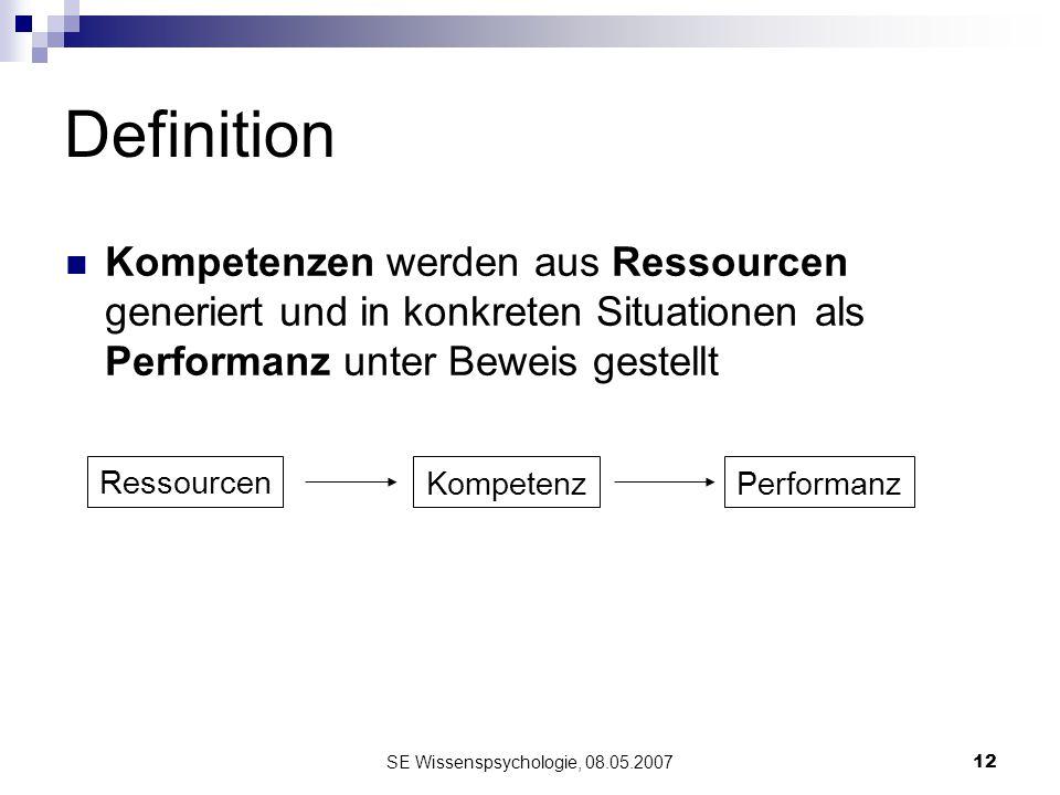 SE Wissenspsychologie, 08.05.200712 Definition Kompetenzen werden aus Ressourcen generiert und in konkreten Situationen als Performanz unter Beweis ge