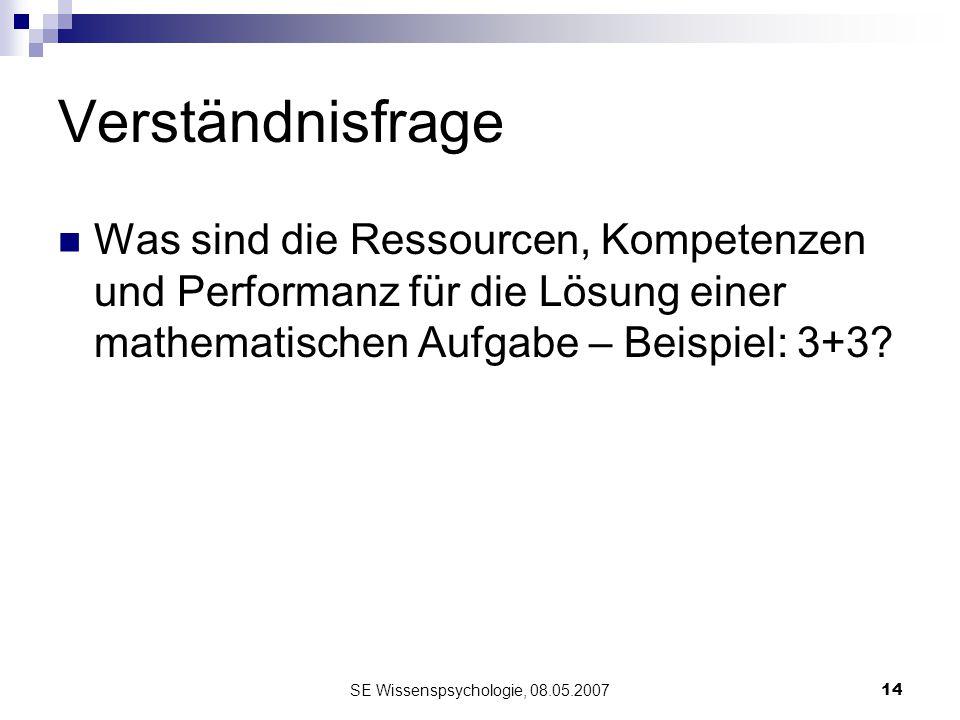 SE Wissenspsychologie, 08.05.200714 Verständnisfrage Was sind die Ressourcen, Kompetenzen und Performanz für die Lösung einer mathematischen Aufgabe –