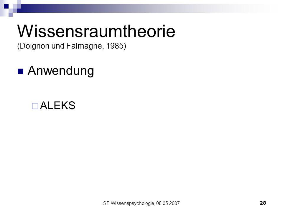 SE Wissenspsychologie, 08.05.200728 Wissensraumtheorie (Doignon und Falmagne, 1985) Anwendung ALEKS
