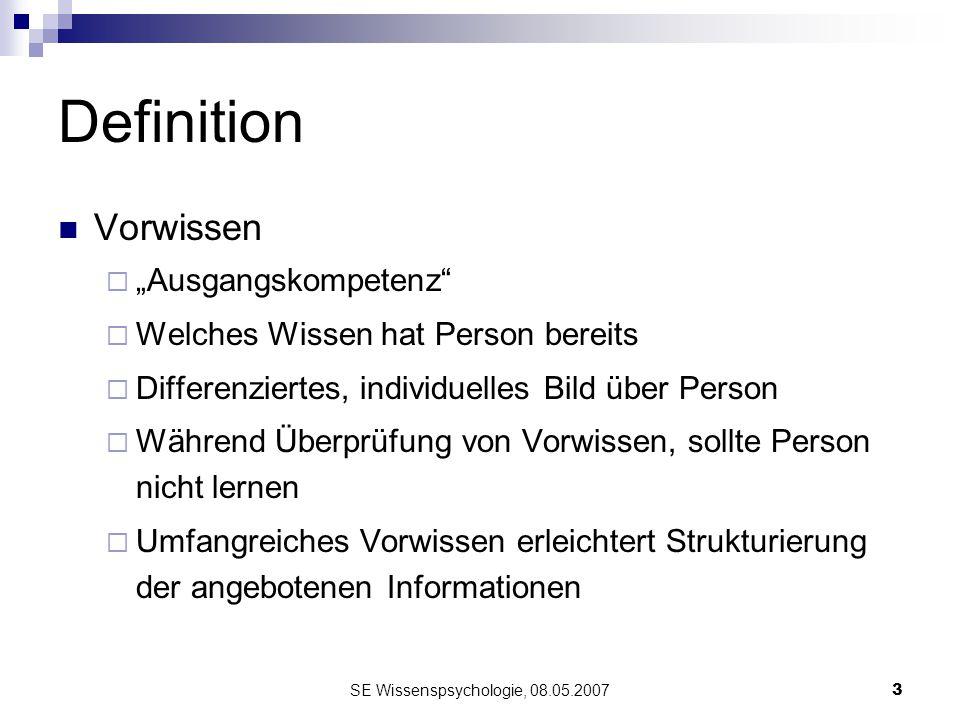 SE Wissenspsychologie, 08.05.20073 Definition Vorwissen Ausgangskompetenz Welches Wissen hat Person bereits Differenziertes, individuelles Bild über P