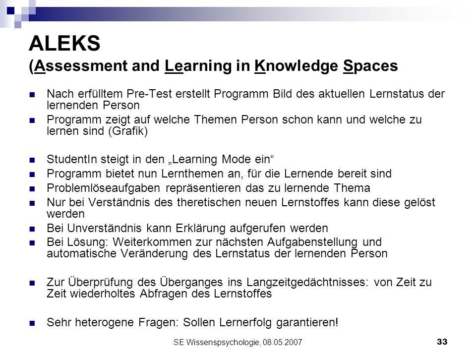 SE Wissenspsychologie, 08.05.200733 ALEKS (Assessment and Learning in Knowledge Spaces Nach erfülltem Pre-Test erstellt Programm Bild des aktuellen Le