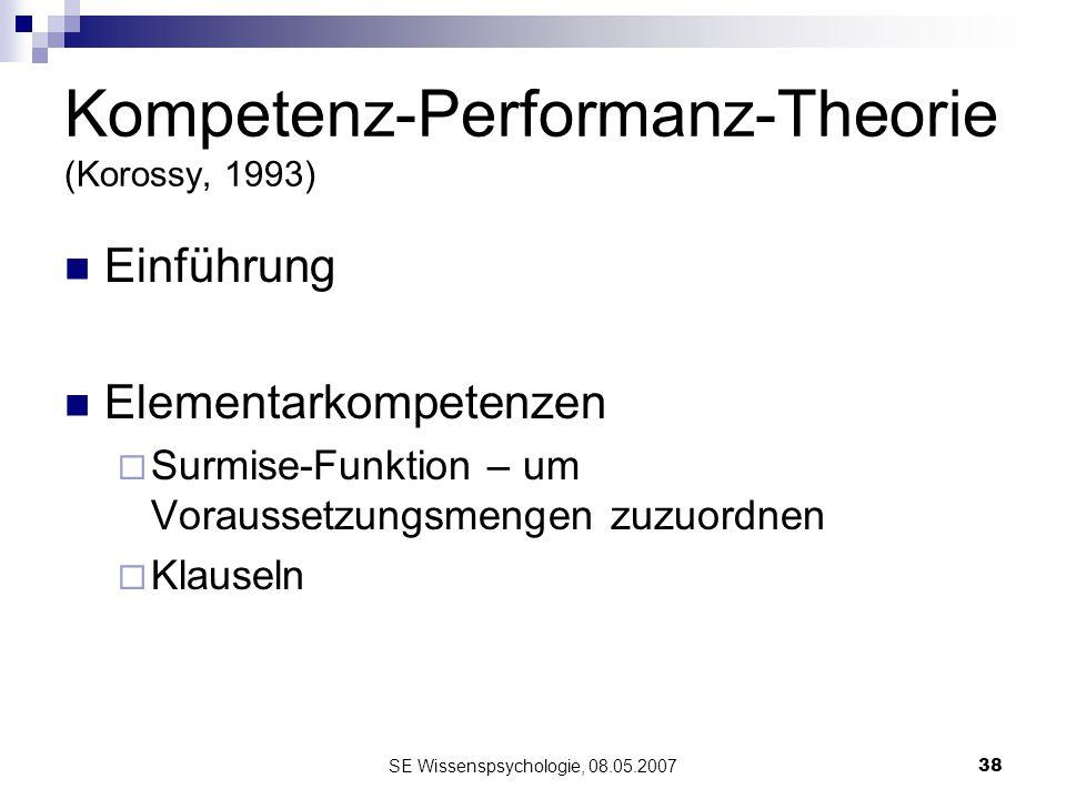 SE Wissenspsychologie, 08.05.200738 Kompetenz-Performanz-Theorie (Korossy, 1993) Einführung Elementarkompetenzen Surmise-Funktion – um Voraussetzungsm