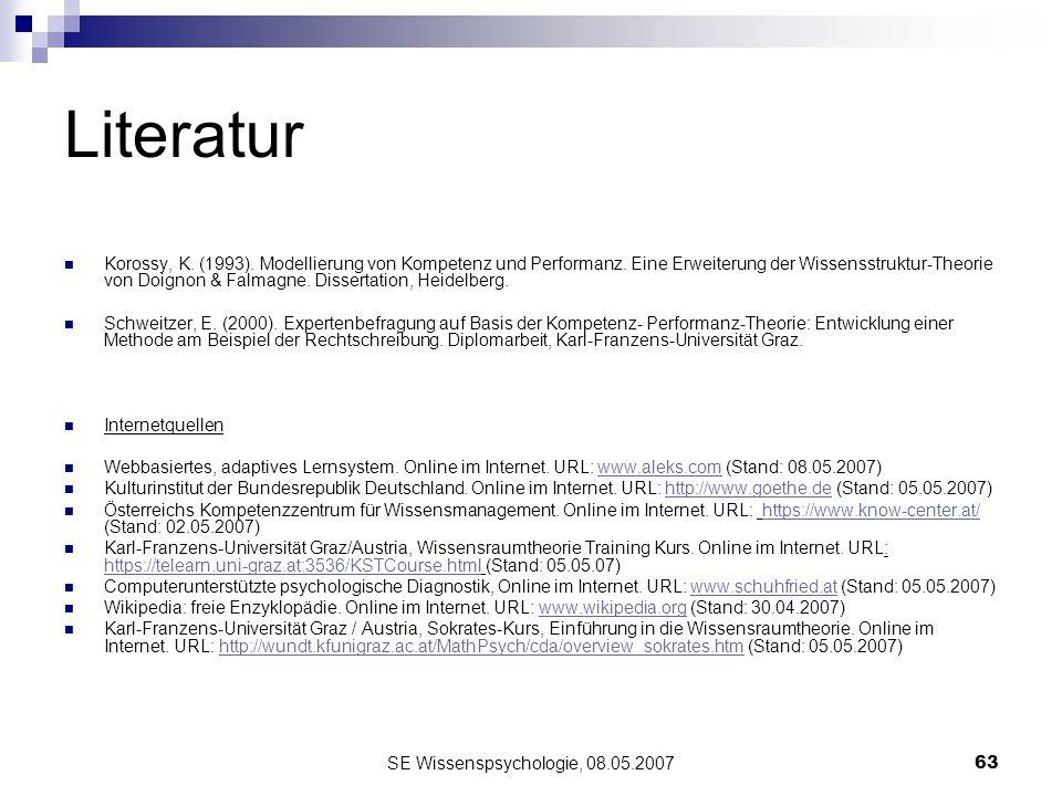 SE Wissenspsychologie, 08.05.200763 Literatur Korossy, K. (1993). Modellierung von Kompetenz und Performanz. Eine Erweiterung der Wissensstruktur-Theo