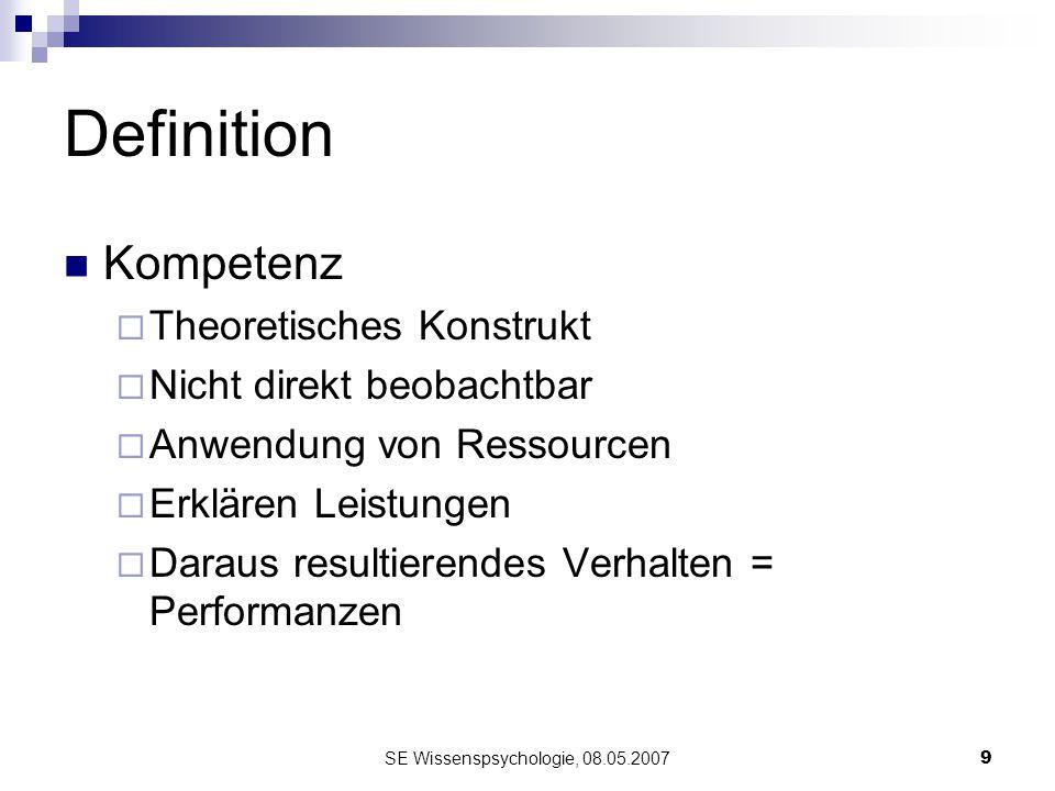 SE Wissenspsychologie, 08.05.20079 Definition Kompetenz Theoretisches Konstrukt Nicht direkt beobachtbar Anwendung von Ressourcen Erklären Leistungen
