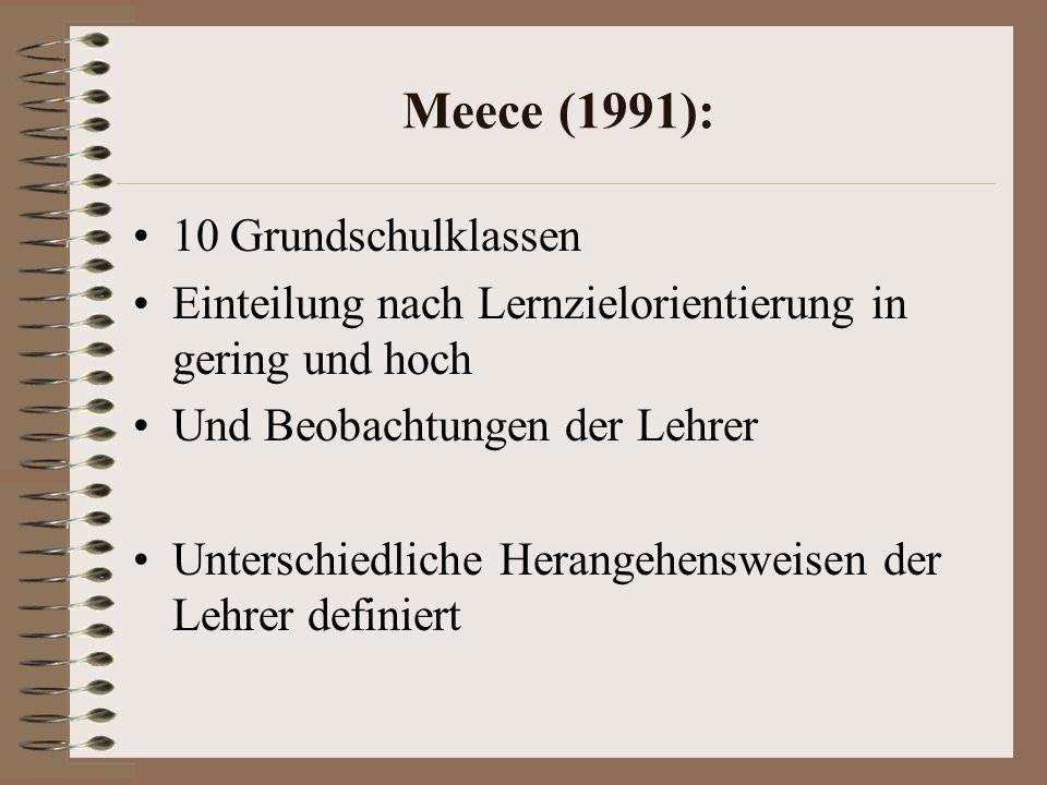 Meece (1991): 10 Grundschulklassen Einteilung nach Lernzielorientierung in gering und hoch Und Beobachtungen der Lehrer Unterschiedliche Herangehensweisen der Lehrer definiert