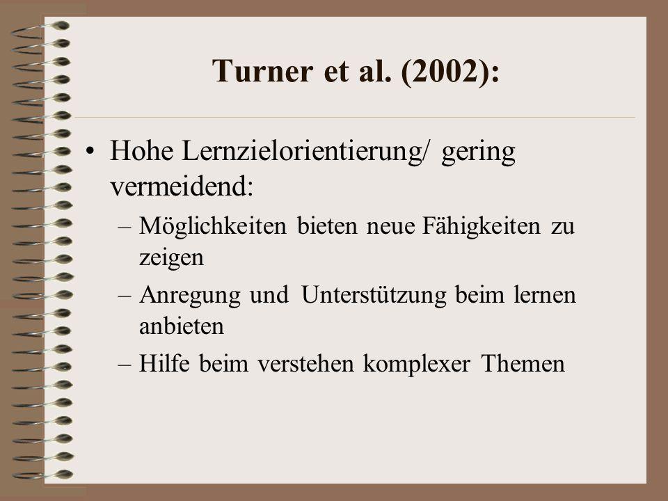 Turner et al. (2002): Hohe Lernzielorientierung/ gering vermeidend: –Möglichkeiten bieten neue Fähigkeiten zu zeigen –Anregung und Unterstützung beim