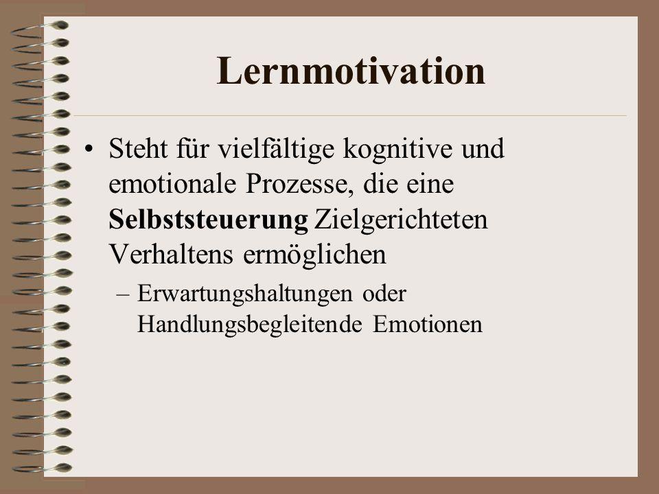 Lernmotivation Steht für vielfältige kognitive und emotionale Prozesse, die eine Selbststeuerung Zielgerichteten Verhaltens ermöglichen –Erwartungshaltungen oder Handlungsbegleitende Emotionen