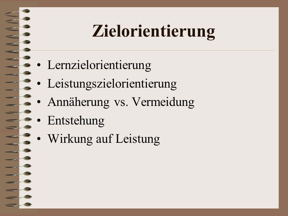 Zielorientierung Lernzielorientierung Leistungszielorientierung Annäherung vs.