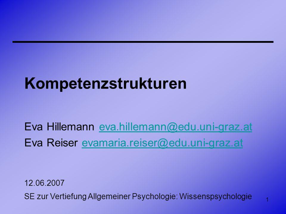 2 Überblick Wissensraum-Theorie von Doignon & Falmagne Kompetenz-Performanzstruktur-Theorie von Korossy –Kompetenzstrukturen –Kompetenzordnungen –Kompetenzraum –Repräsentationsproblem