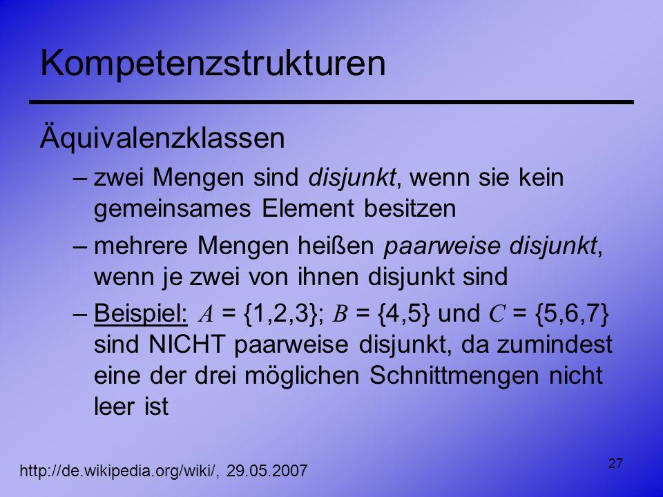 27 Kompetenzstrukturen Äquivalenzklassen –zwei Mengen sind disjunkt, wenn sie kein gemeinsames Element besitzen –mehrere Mengen heißen paarweise disju