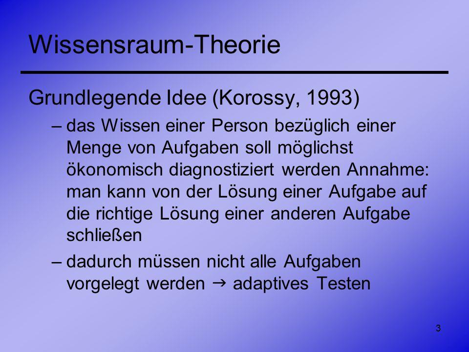 3 Wissensraum-Theorie Grundlegende Idee (Korossy, 1993) –das Wissen einer Person bezüglich einer Menge von Aufgaben soll möglichst ökonomisch diagnost