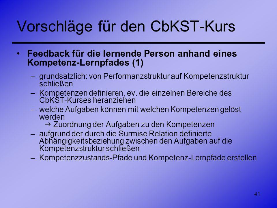 41 Vorschläge für den CbKST-Kurs Feedback für die lernende Person anhand eines Kompetenz-Lernpfades (1) –grundsätzlich: von Performanzstruktur auf Kom