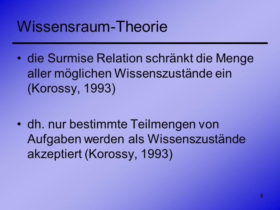7 Wissensraum-Theorie Wissensstruktur –geordnetes Paar (A,K) –bestehend aus: einer Menge A von Aufgaben und einer Familie K von Teilmengen von A, welche Wissenszustände genannt werden Korossy, 1993