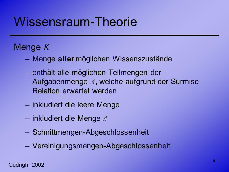 8 Wissensraum-Theorie Menge K –Menge aller möglichen Wissenszustände –enthält alle möglichen Teilmengen der Aufgabenmenge A, welche aufgrund der Surmi