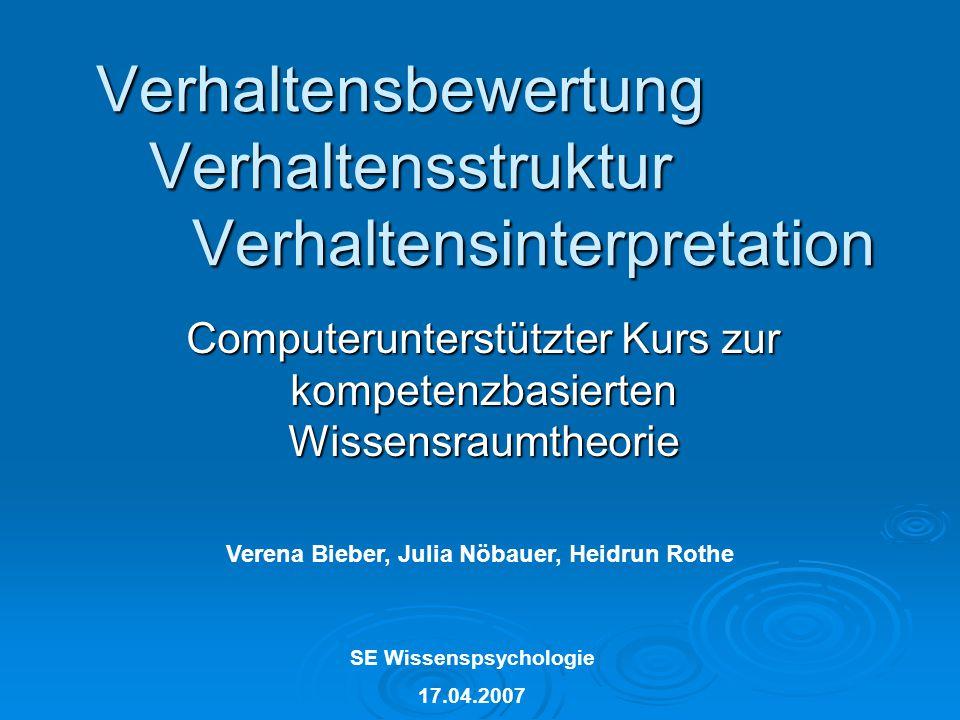 SE Wissenspsychologie 17.04.2007 Verhaltensbewertung Verhaltensstruktur Verhaltensinterpretation Computerunterstützter Kurs zur kompetenzbasierten Wis