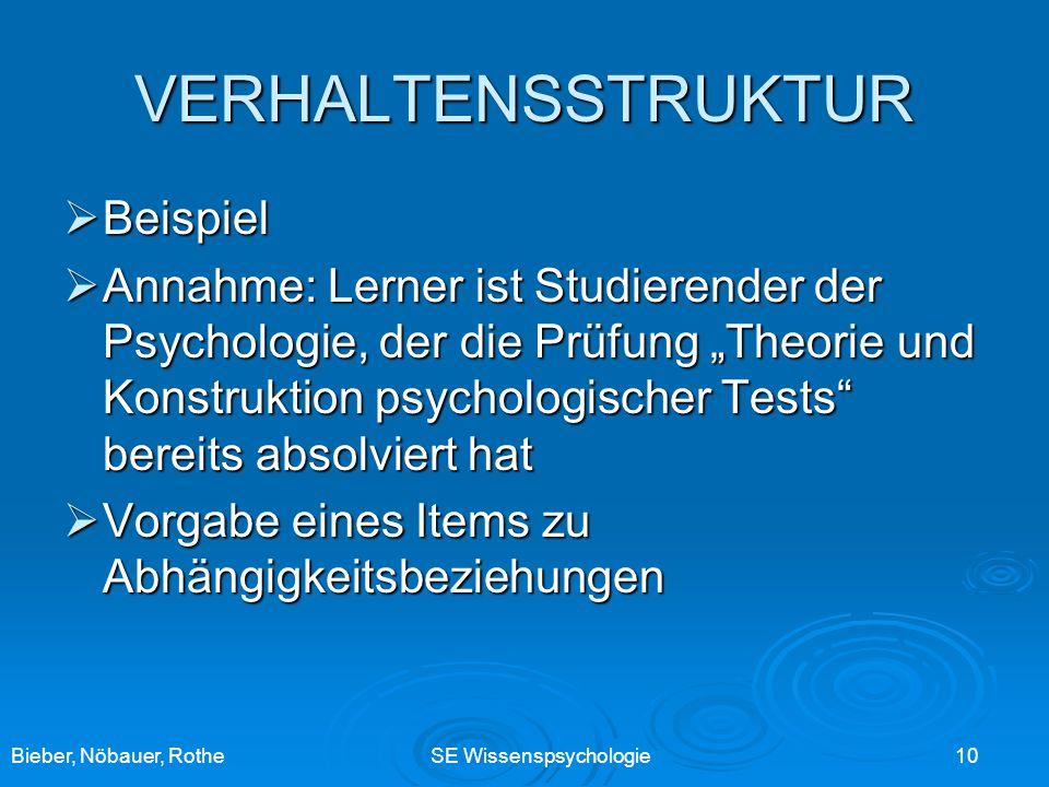 Bieber, Nöbauer, RotheSE Wissenspsychologie 10 VERHALTENSSTRUKTUR Beispiel Beispiel Annahme: Lerner ist Studierender der Psychologie, der die Prüfung