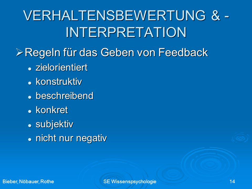 Bieber, Nöbauer, RotheSE Wissenspsychologie 14 VERHALTENSBEWERTUNG & - INTERPRETATION Regeln für das Geben von Feedback Regeln für das Geben von Feedb