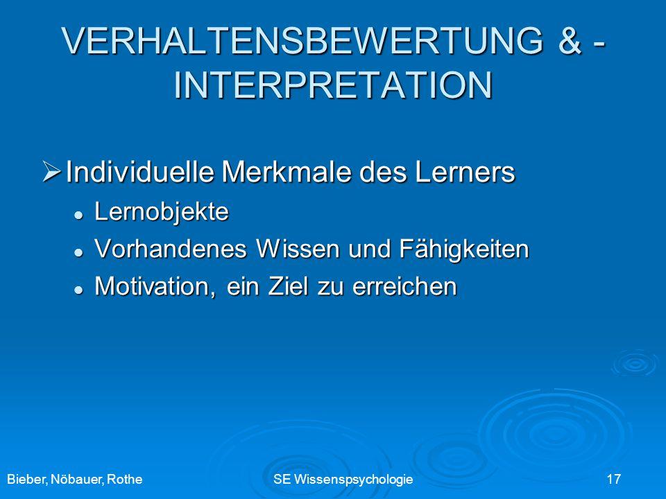 Bieber, Nöbauer, RotheSE Wissenspsychologie 17 Individuelle Merkmale des Lerners Individuelle Merkmale des Lerners Lernobjekte Lernobjekte Vorhandenes