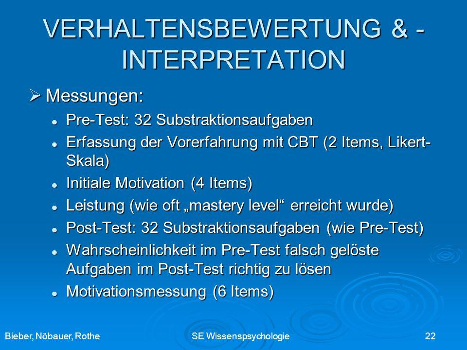 Bieber, Nöbauer, RotheSE Wissenspsychologie 22 VERHALTENSBEWERTUNG & - INTERPRETATION Messungen: Messungen: Pre-Test: 32 Substraktionsaufgaben Pre-Tes