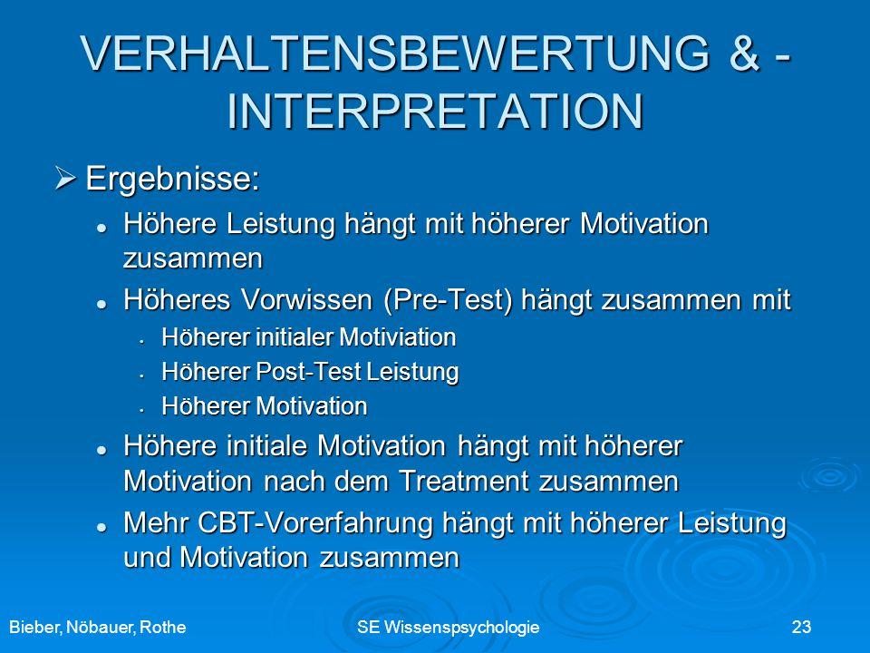 Bieber, Nöbauer, RotheSE Wissenspsychologie 23 VERHALTENSBEWERTUNG & - INTERPRETATION Ergebnisse: Ergebnisse: Höhere Leistung hängt mit höherer Motiva